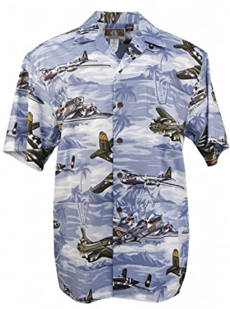 74a83569 Amazon.com: US Bombers - Men's Hawaiian Print Aloha Shirt - Blue ...
