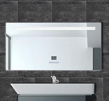 HighMax Badspiegel mit Radio Uhr LED Beleuchtung Datum Temperatur ...