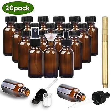 Amazon.com: YULEER Botellas de vidrio ámbar, paquete de 20 ...