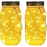 Solar Mason Jar Lights, Large Size Bigger Glass Mason Jar with 30 LEDs Fairy Firefly String Lights, Best Patio Yard…