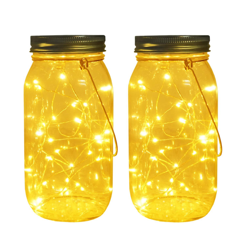 Solar Mason Jar Lights, Large Size Bigger Glass Mason Jar with 30 LEDs Fairy Firefly String Lights, Best Patio Yard Desktop Party Decor Outdoor Solar Hanging Lanterns by Aubasic
