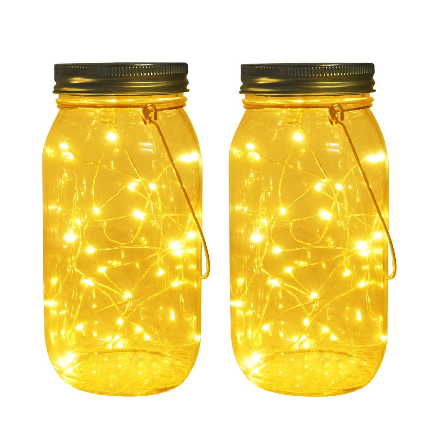 Solar Mason Jar Lights, Large Size Bigger Glass Mason Jar with 30 LEDs Fairy Firefly String Lights, Best Patio Yard Desktop Party Decor Outdoor Solar Hanging Lanterns