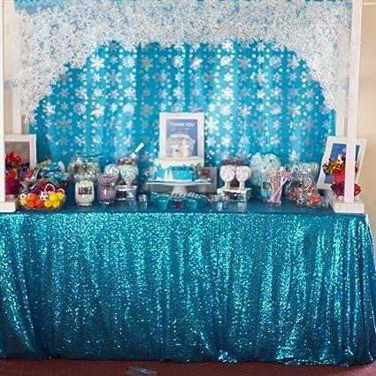 QueenDream Sheer Sequin Tablecloth 60u0026quot;x120u0026quot;aqua Blue Sequin  Tablecloth Sequin Tablecloth Long Sequin