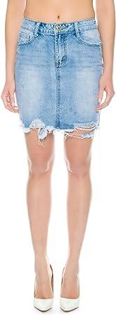 Nina Carter Falda Vaquera para Mujer Minifalda Jeans de Mezclilla...