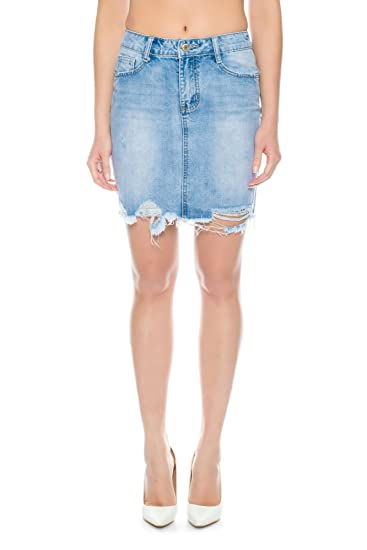 Nina Carter Donna Gonna Jeans Denim BLU Stone Washed Destroy ...