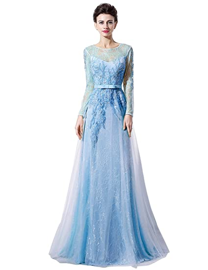Sarahbridal Womens A-line Long Sleeves Appliques Evening Dress Prom Gown US10 Sky Blue