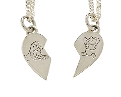Disney sterling silver winnie the pooh and eeyore split heart disney sterling silver winnie the pooh and eeyore split heart pendants exclusive to amazon aloadofball Gallery