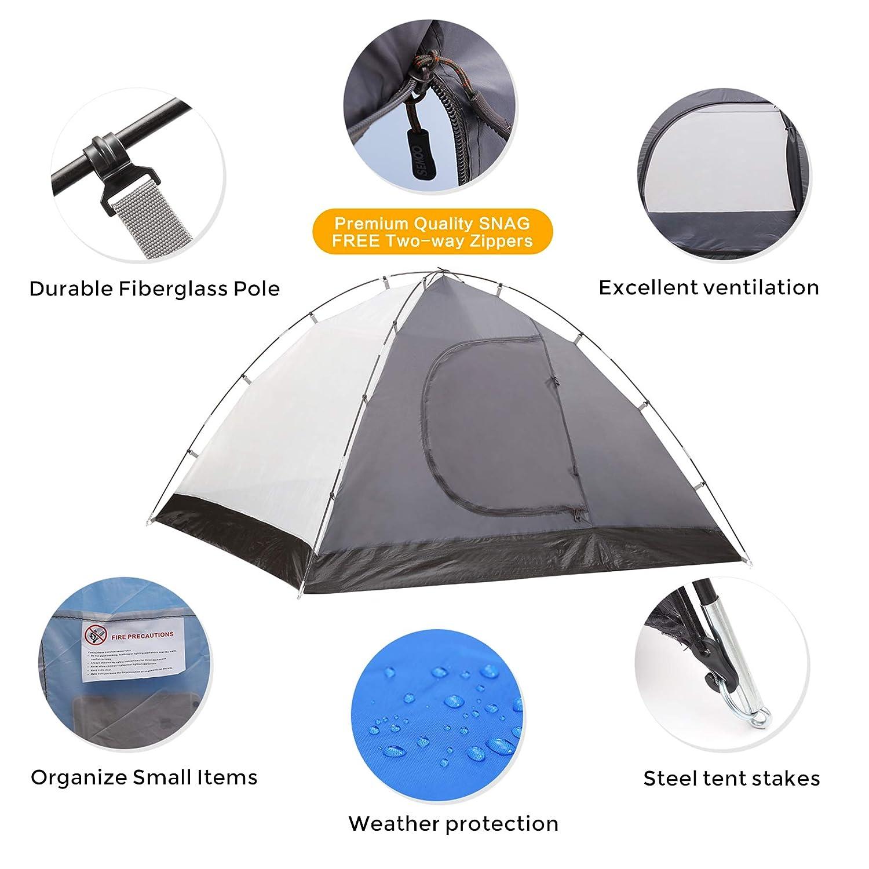 con Doble Capa y mosquitera Incluye Bolsa de Transporte Tiendas igl/ú 4 Estaciones Semoo Tienda de campa/ña para 4 Personas