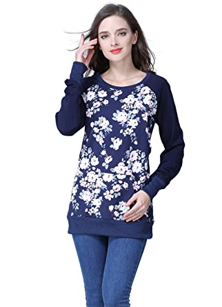 263ab2f6ee5 Emotion Moms Long Sleeve Winter Maternity Clothes Cotton Nursing  Breastfeeding Tops for Pregnant Women (Small