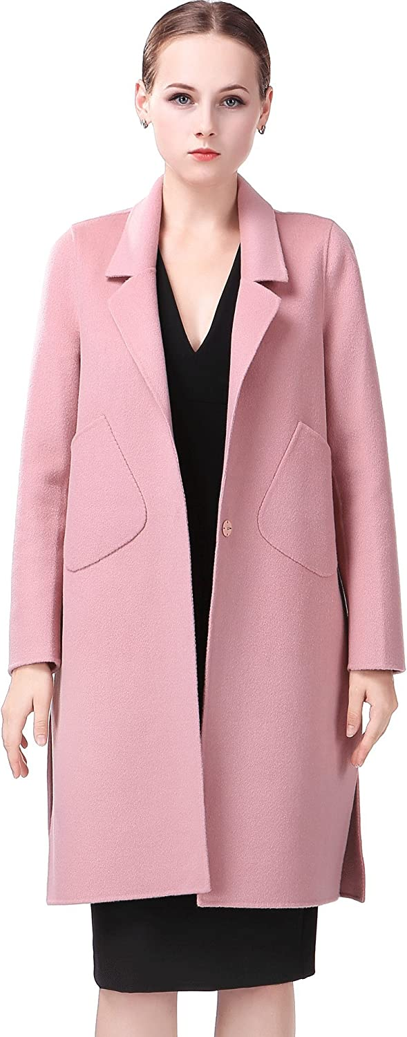 Cromoncent Mens Stylish Double Breasted Wool Blend Skinny Overcoat Coat