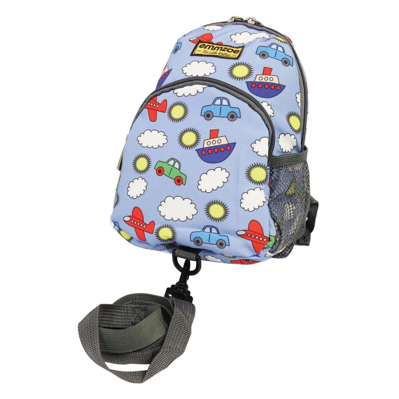 Emmzoe Little Walker Toddler Backpack with Detachable Safety Harness Leash - Lightweight Fits Snacks, Food, Toys (Sky Blue Transportation)