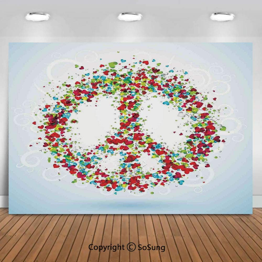 Floral Peace Sign Summer Spring Blooms Love Happiness Themed Illustration Print Background for Baby Shower Bridal Wedding Studio Photography Pictures Multicolor Groovy 8x10 FT Photography Backdrop