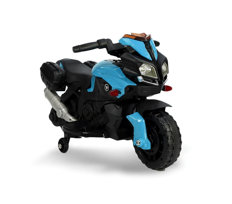 MEDIA WAVE store /® Giallo Motocicletta elettrica LT875 per bambini MOTO SPEED con luci e suoni realistici