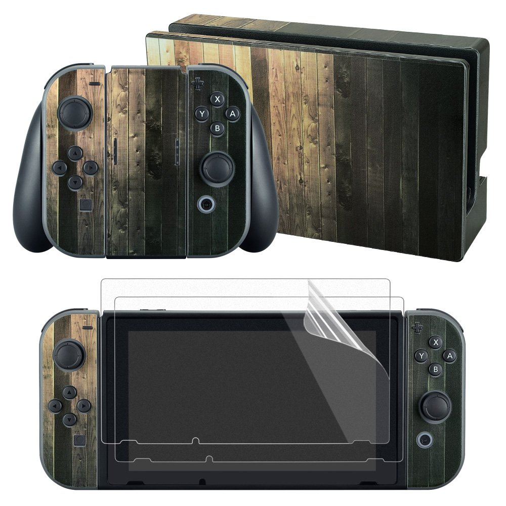 eXtremeRate Old Wood Decals Stickers Full Set Faceplate Skin +2Pcs Screen Protector for Nintendo Switch Console & Joy-con Controller & Dock Protection Kit