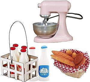 G0lden&Mang0 15Pcs Dollhouse Kitchen Set,1:12 Dollhouse Accessories 7Pcs Mini Milk Crate with Milk Bottles, 7Pcs Bread and Basket, 1Pc Bread Dough Mixer Machine for Kids Gift