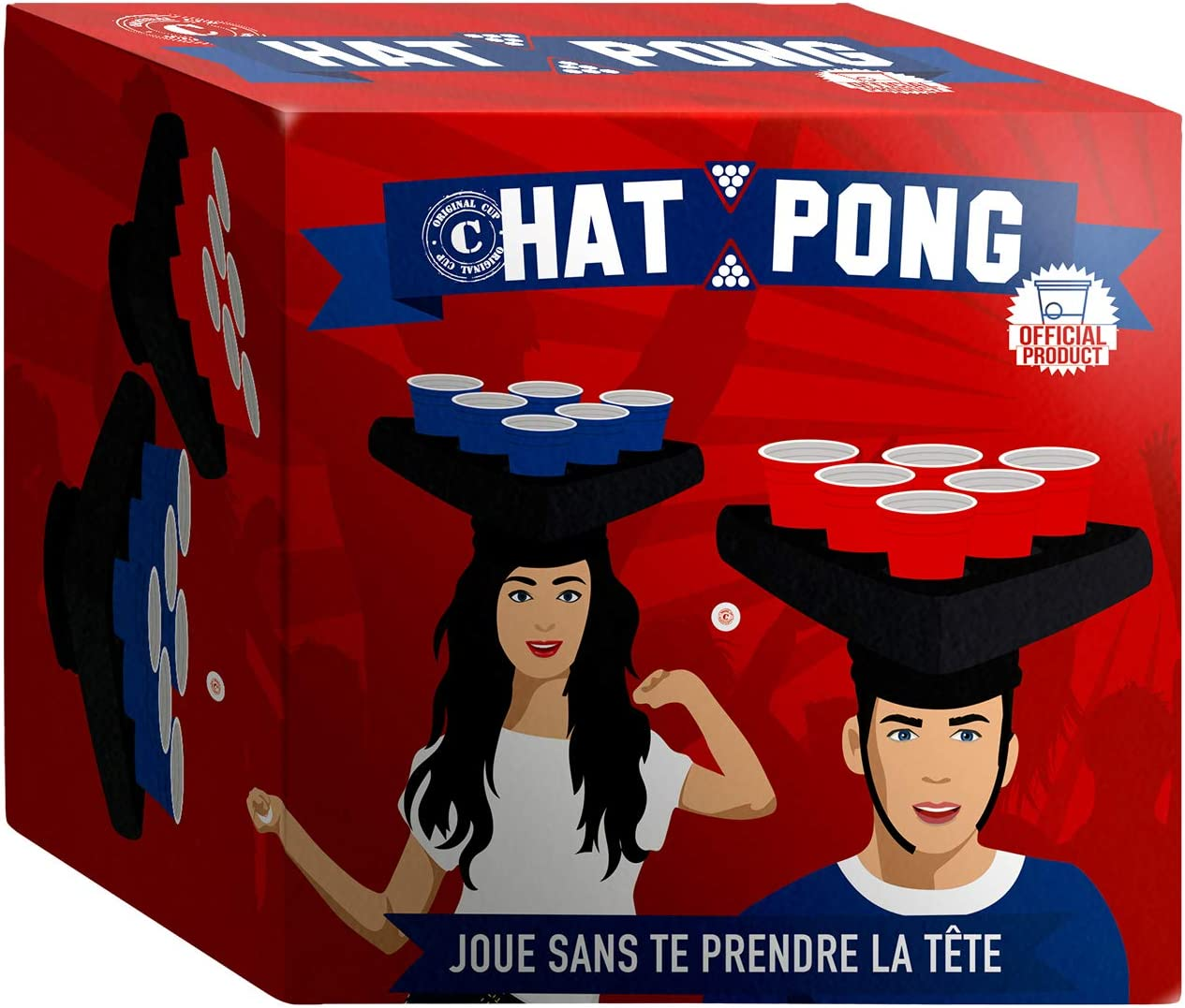 Original Cup Hat Pong with Inflatable Hats and Cups HATPONG