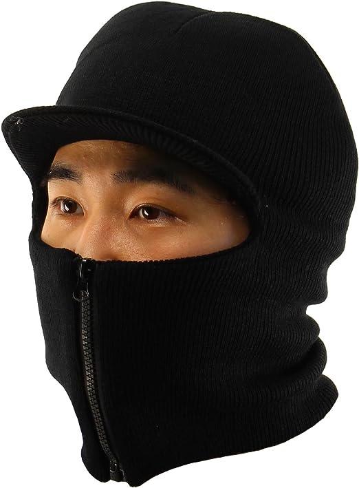 Men/'s Winter Knit Ski Snow Long Neck warmer Balaclava 1 Eye Hole Face Mask Black