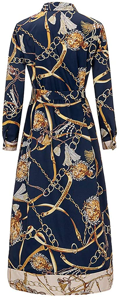 AOGOTO Women Stand Collar Asymmetry Long Dress Print Single Breasted Belted Dresses