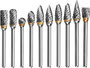 HQMaster 10pcs 1/8 Tungsten Carbide Rotary File Solid Carbide Rotary Burr Set Drill Grinding Cutter Tools Bits Set, for DIY Wood-working Carving, Metal Polishing, Engraving, Drilling