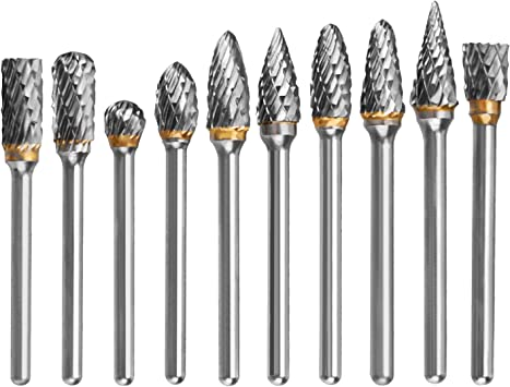 """LOT OF 10 New! BALL CARBIDE ROTARY BURR FILE CUTTING 1//8/"""" x 1//8/"""""""