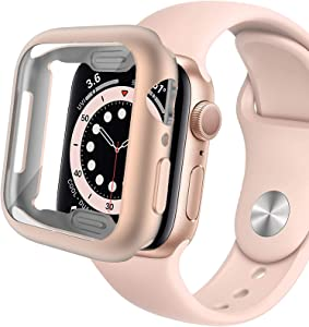 Miimall Compatible Apple Watch 40mm Case with Screen Protector Matte Soft TPU Plated Anti-Scratch Full Protective Case Protector Cover for Apple Watch 40mm Series SE/6/5/4(Rose Gold)