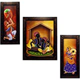 INDIANARA 3 PC Set of Rajasthani Folk Music & Dance Paintings (1084) Without Glass 5.2 X 12.5, 9.5 X 12.5, 5.2 X 12.5 INCH