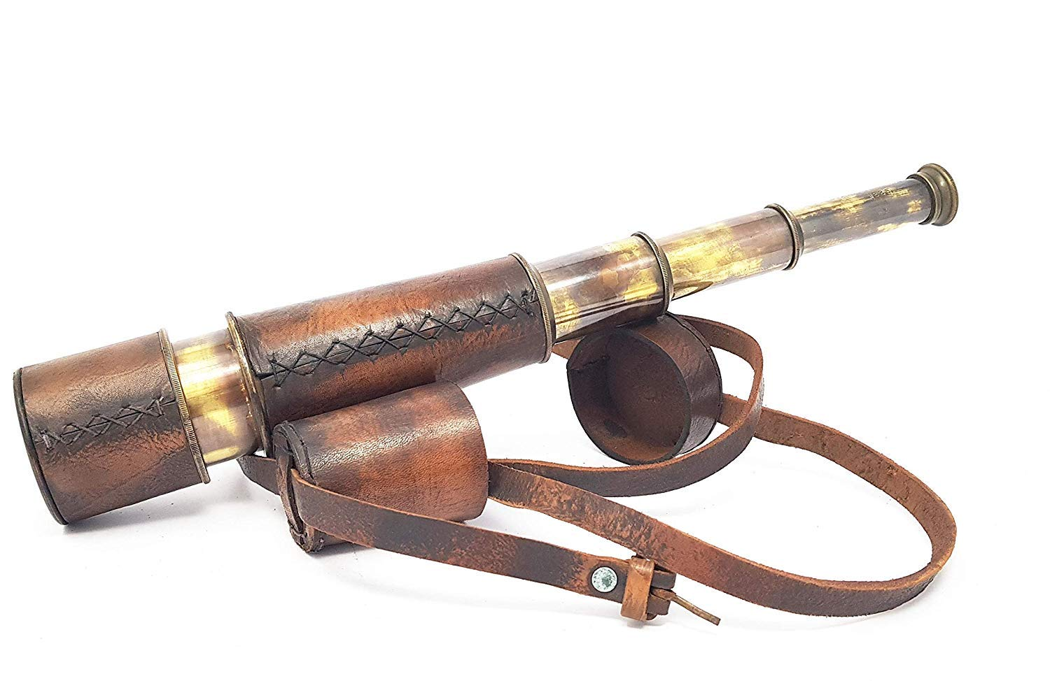 CollectiblesBuy Antique Nautical Pirate Spyglass Handheld Brass Telescope Leather Encased Carry Belt with 3 Brass Anchor by CollectiblesBuy
