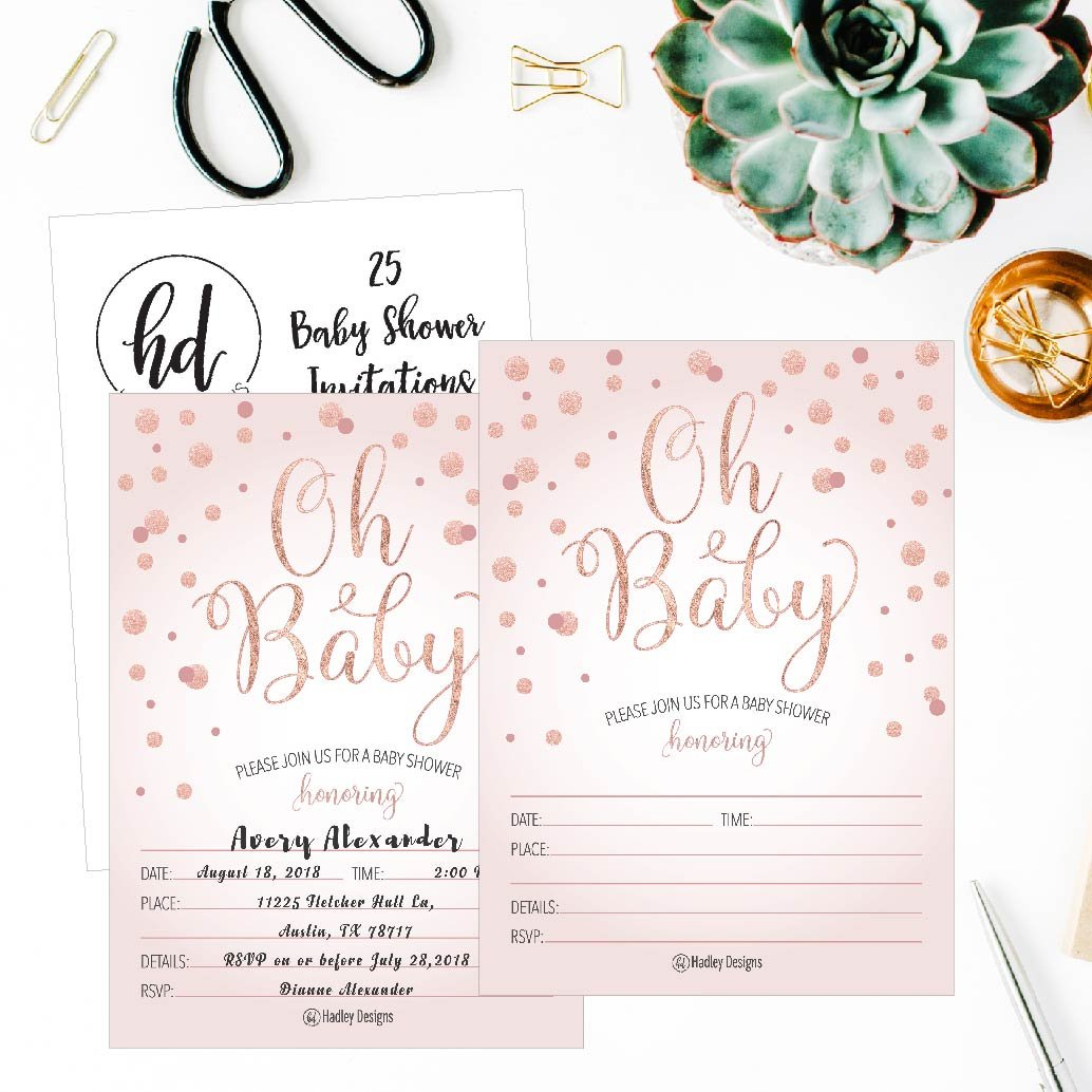 25 Blush Rose Gold Girl Oh Baby Shower Invitations, Cute Princess Printed Fill Or Write in Blank Invite, Printable Shabby Chic Unique Custom Vintage Coed Twin Sprinkle Party Card Stock Paper Supplies by Hadley Designs (Image #2)