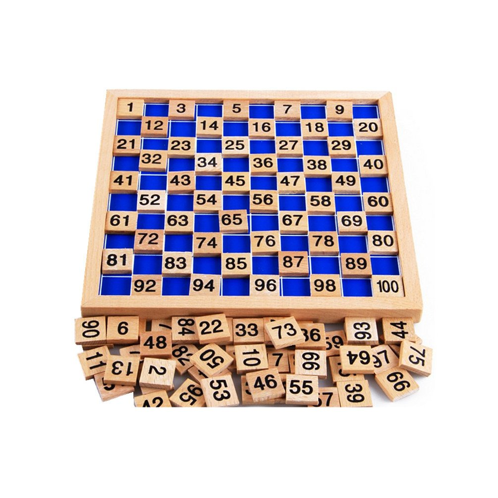 Amberetech Wooden Toys Hundred Board Montessori 1 100 Consecutive Numbers Wooden Educational Game for Kids with Storage Bag W8.26 L8.26inches