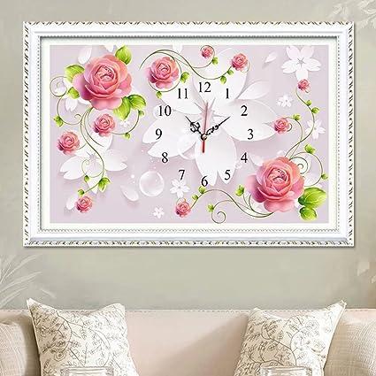 5D DIY Diamond Painting Full Of Diamond Beads Embroidered Wall Clock Kit  Rose Modern Living Room
