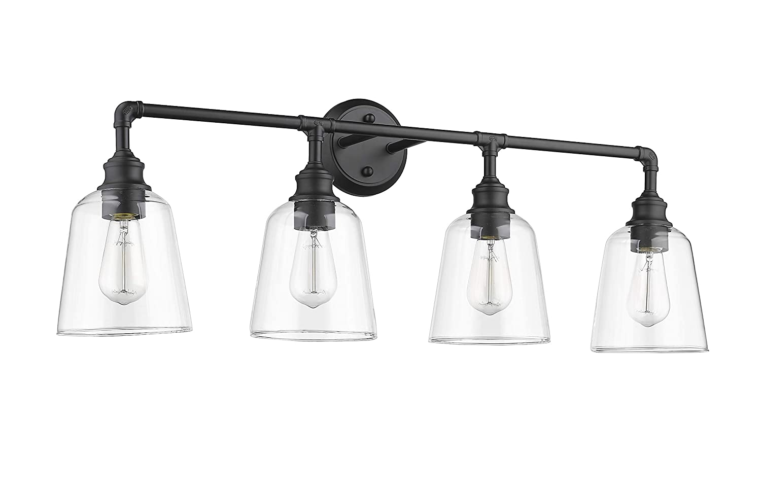 4 Light Matte Black Vanity- 35.87 W x 12.87 H x 8 E- Clear Glass Shade- 4x60W E27 – Bulbs Not Included- Vivio by HOMEnhancements