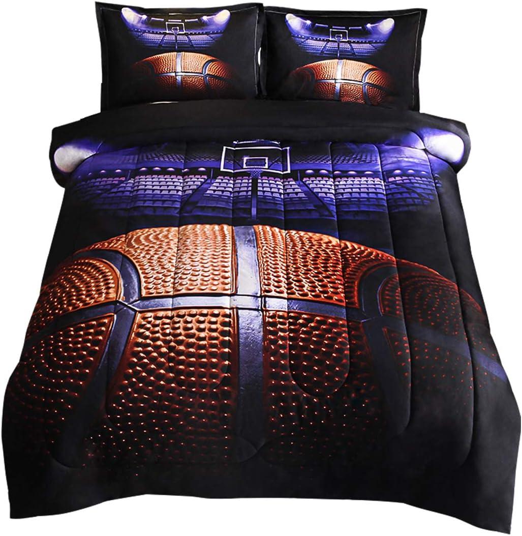 JQinHome Full Basketball Court Comforter Sets - 3D Sports Themed - All-Season Down Alternative Quilted Duvet - Reversible Design - Includes 1 Comforter, 2 Pillow Sham