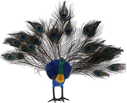 FLAMEER Pájaros Realistas con Plumas Figuras De Animales Realistas para La Decoración del Jardín Casero - 10 Estilos Pájaros - # 10 Pavo Real: Amazon.es: Jardín