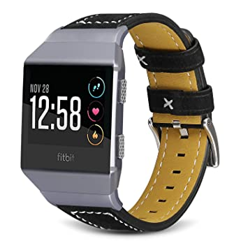 SKYLET Leather Bands Compatible with Fitbit Ionic, Classic Leather Replacement Strap Compatible with Fitbit Ionic Smart Watch Man Women Black Pink ...