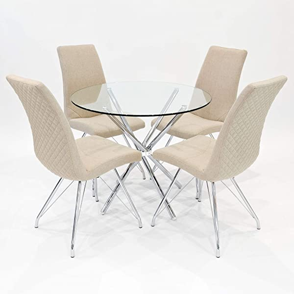 90cm Criss Cross Glass Dining Table With Four Beige Chairs
