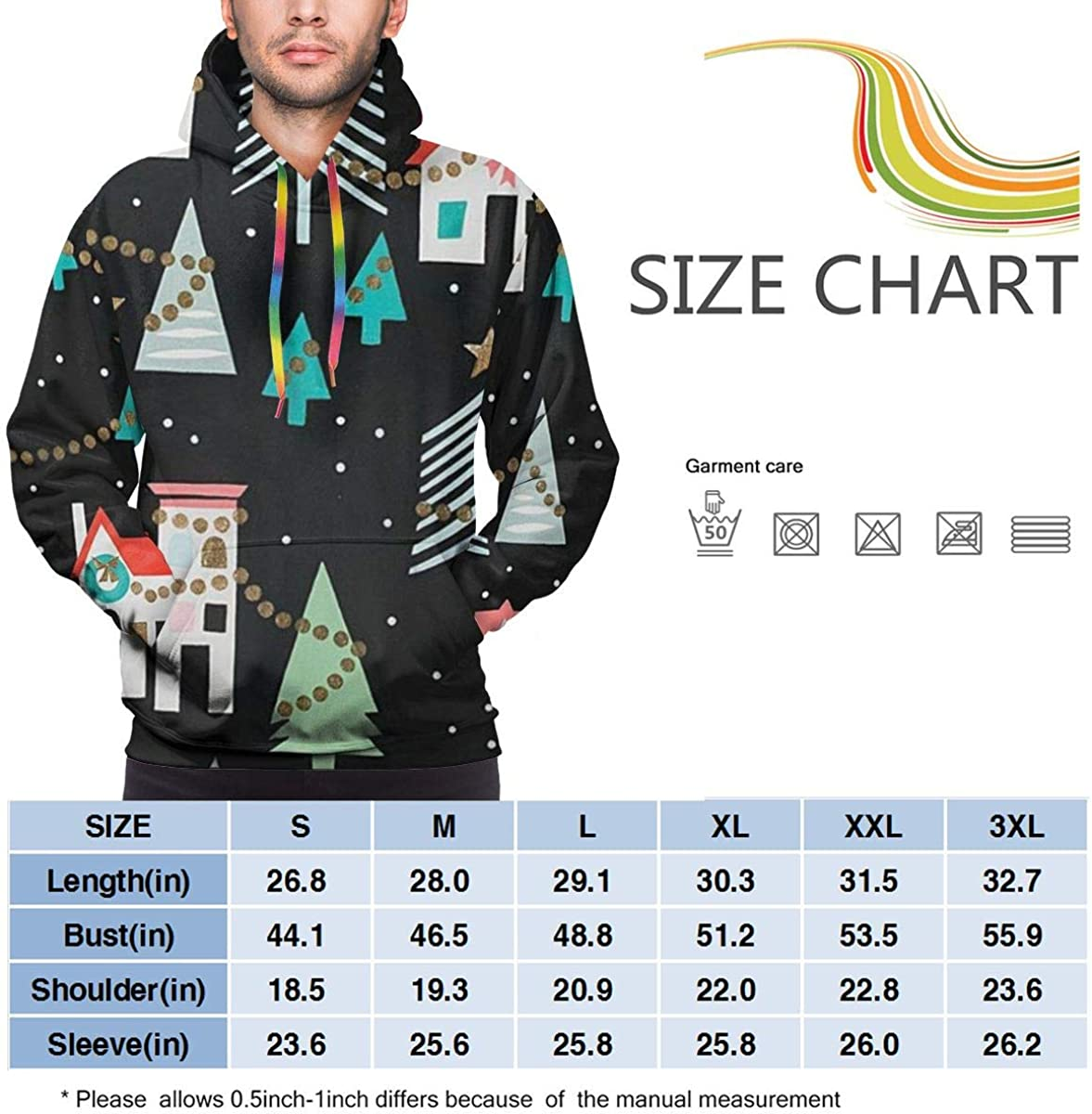 Funny Cool Outwear Christmas Time Neighborhood Pullover Hooded Sweatshirts for Boys Mens