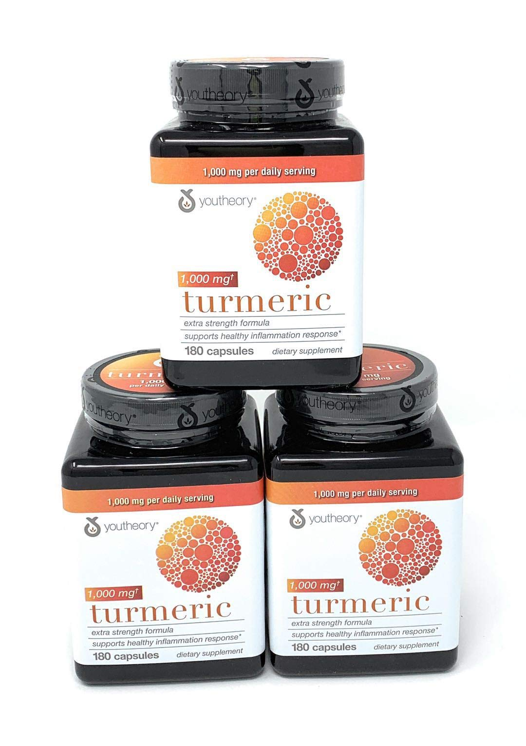 Youtheory Turmeric Extra Strength Formula Capsules 1,000 mg per Daily, 180 Count (Pack of 3)