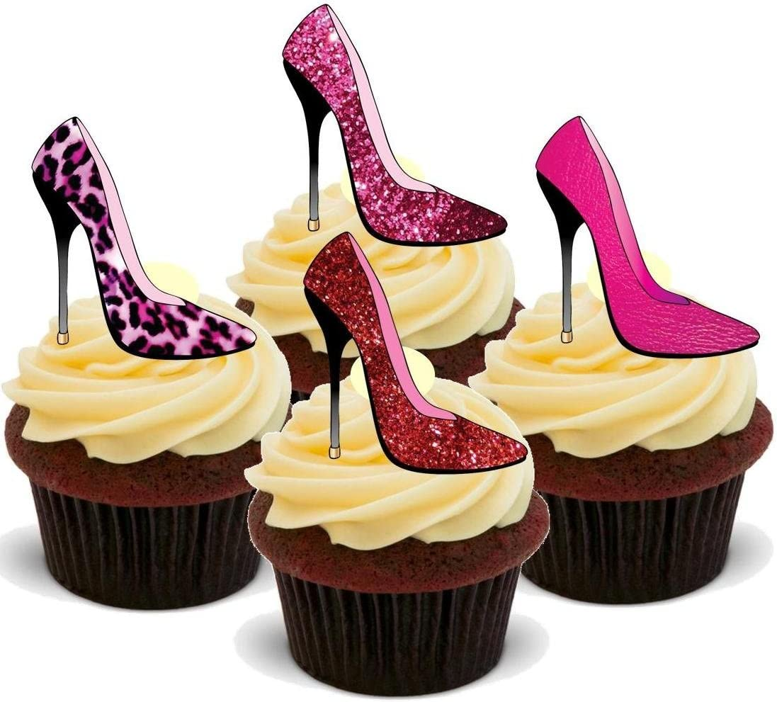 NOVELTY BLING Shoe Mix 12 STAND UP Edible Cake Toppers Birthday Diamonds Pink