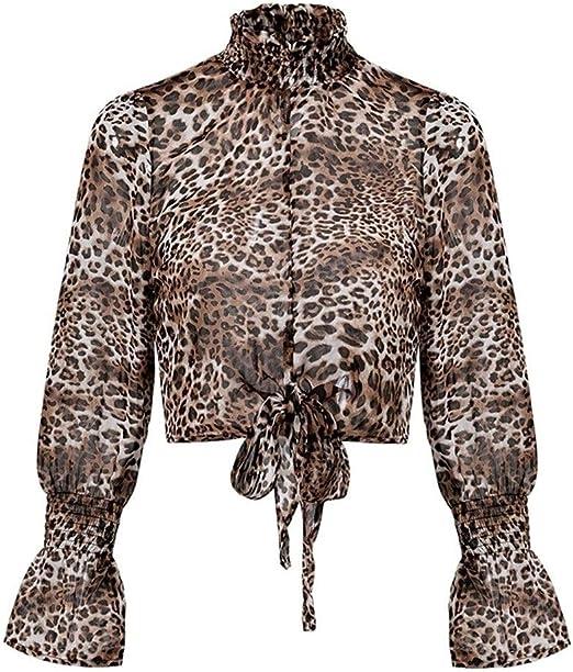 Camisa Leopard Lace up Chiffon Women Blusas Corta Tops Sexy Mesh Streetwear Blusa Camisa Mujer Vintage Blusa Mujer (Color : Lepard Print, Size : S): Amazon.es: Hogar