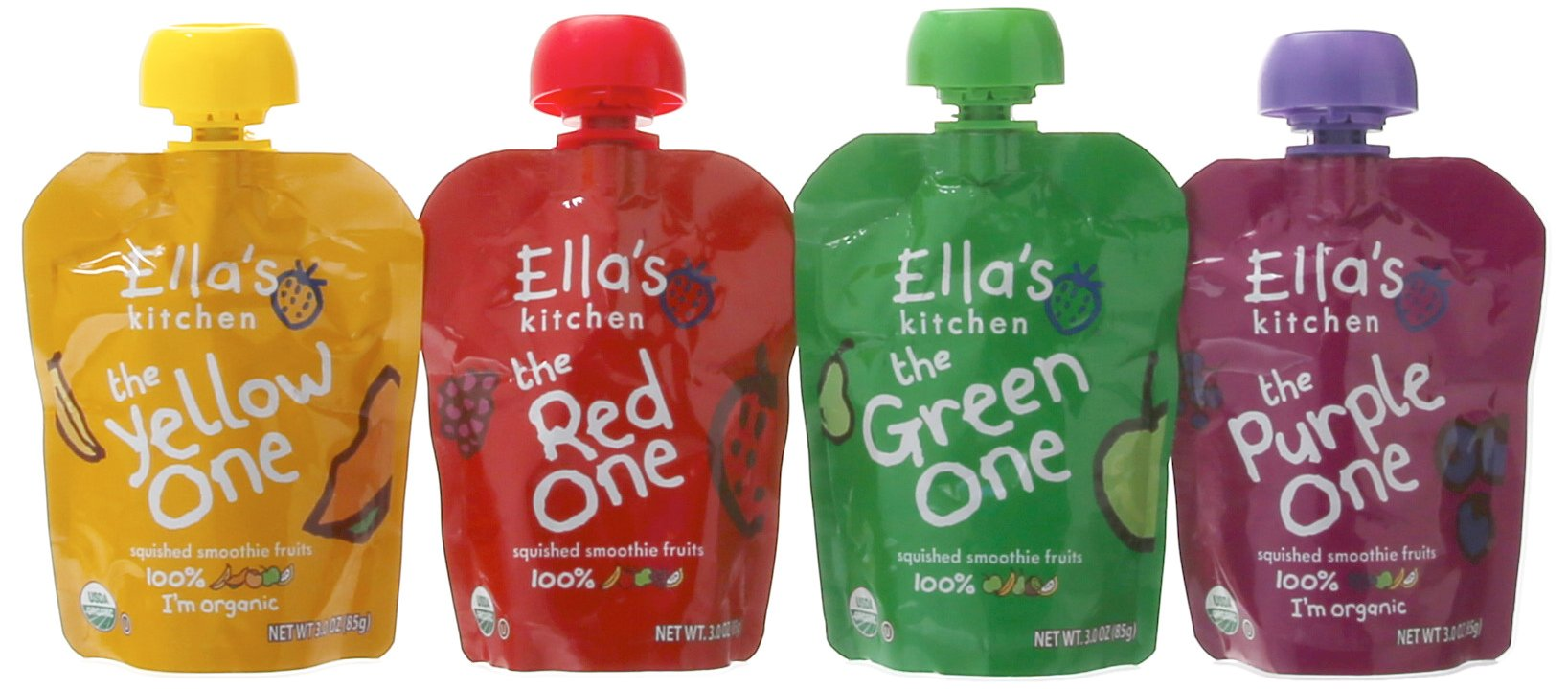 Ella's Kitchen Organic Smoothie Fruits 4 Flavor Variety Pack (8 Total Pouches)