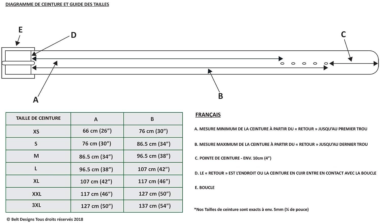 d89a311d452 Belt Designs Ceinture homme cuir de qualite - Fabrique au Royaume-Uni -  doubles pointes boucle en laiton massif recouverte de nickel  Amazon.fr   Vêtements ...