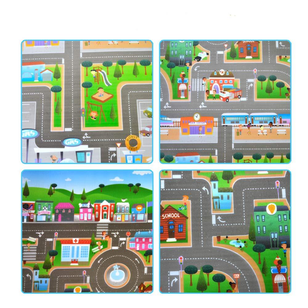 Alfombra infantil de 0,5 cm imagen de ciudad y tr/áfico 200 x 180 cm alfombra en relieve para que jueguen los ni/ños