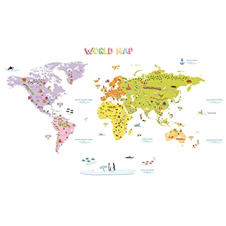 Decowall dmt 1306n colourful world map kids wall stickers wall decowall dmt 1306n colourful world map kids wall stickers wall decals peel and stick removable gumiabroncs Image collections