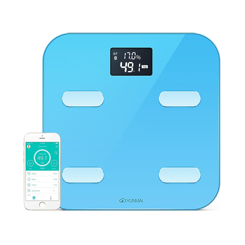 YUNMAI Escala corporal inteligentel-Báscula de baño Bluetooth con 10 estatus corporal (incluyendo grasa corporal), Aplicación gratuita (iOS y Android),Azul: ...