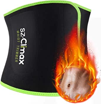 SZ-Climax Waist Trimmer Trainer Belt, Sweat Wrap Exercise Belt for Stomach Weight Loss Women Men Fitness Workout Sweat Sauna Belt Abdominal Trainers with Pocket for Cell Phone