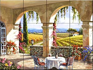 Ceramic Tile Mural - Wine Country Terrace- by Sung Kim