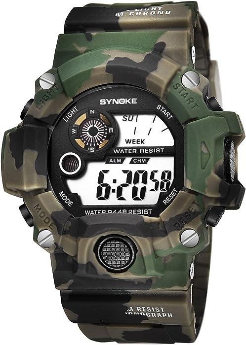 f9968e247448 modiwen estilo militar deporte reloj para hombre diseño de camuflaje  Digital LED pantalla electrónica movimiento