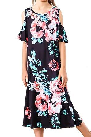 1d087ddd7161 Girls Midi Skirt Floral Ruffle Hem Casual Dress Short Sleeve Slim Off  Shoulder Sleeve Skirt