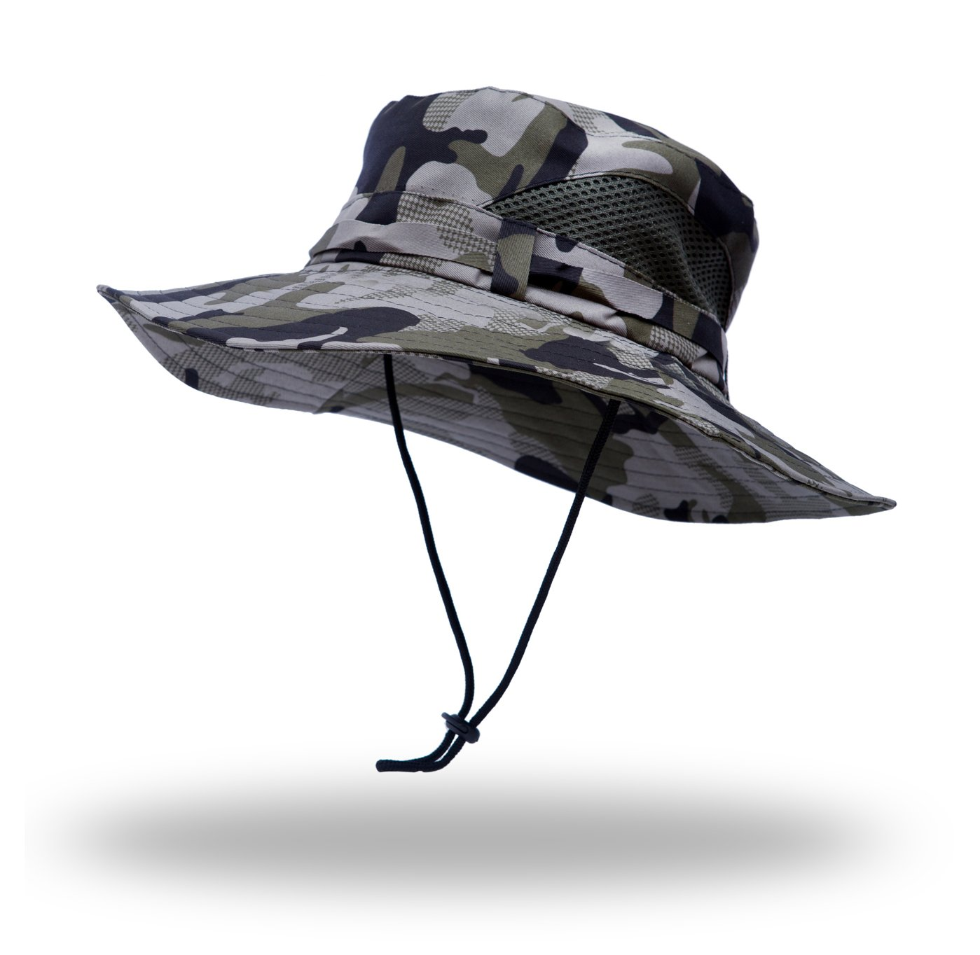 Anleolife Grey Camo Jungle Boonie Hat Travel Biking Boating Hiking Beach Vacation Bucket Cap
