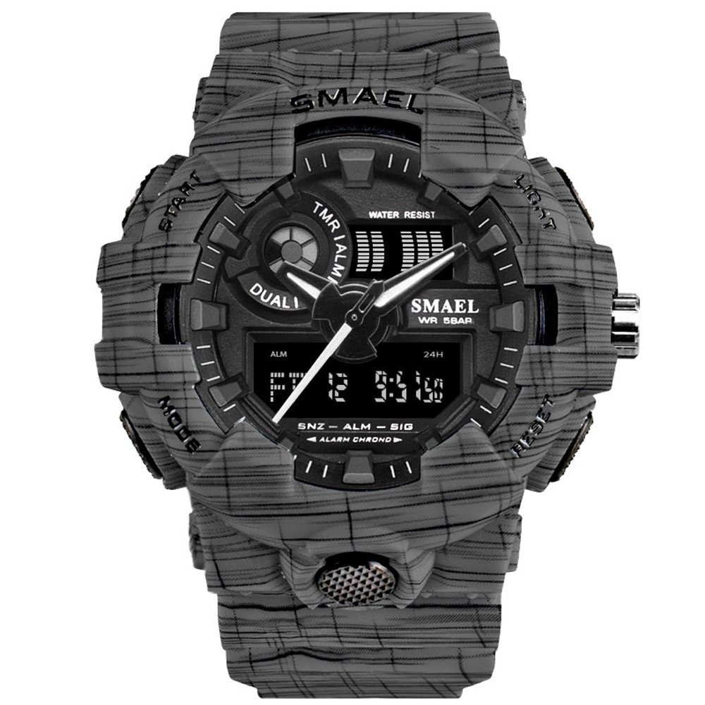 Men's Digital Watch with Dual Display and Backlight Waterproof Sports Watch (Grey)